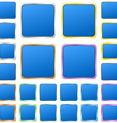 Blue blank square metal button set vector