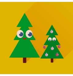 Flat icon with long shadow christmas trees vector