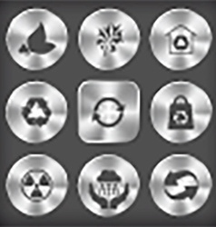 Round and square steel button vector