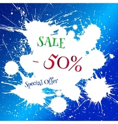 White blot with sale tag over bright blue vector