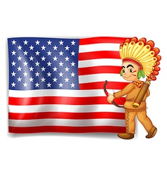 A young indian and the usa flag vector