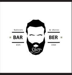 barber shop logo hipster emblem vector image vector image