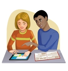 Boy and girl working on digital tablet vector