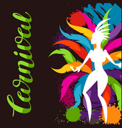 Carnival party background with samba dancer and vector