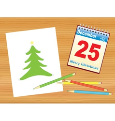 Christmas tree drawing on table vector image vector image