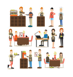 coffee house people flat icon set vector image