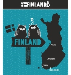 Creative finland map and wooden road sign with vector