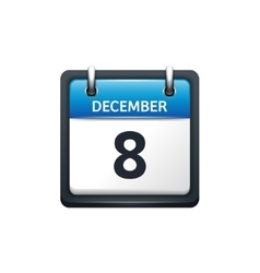 December 8 Calendar icon flat vector image