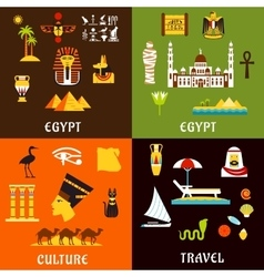 Egypt travel and culture icons in flat style vector image
