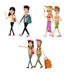 Group couples travelers suitcase vector
