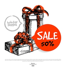 Hand drawn Sale Christmas background vector image vector image