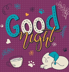 Hand lettering text - good night there is cute vector