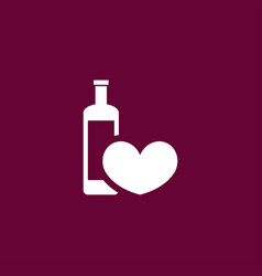 heart with wine icon simple vector image