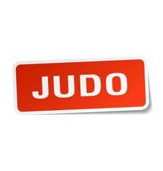 Judo square sticker on white vector