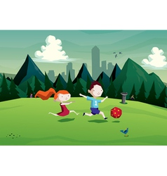 Kids boy and girl playing with a ball in park vector
