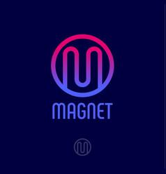 m logo monogram red blue circle vector image