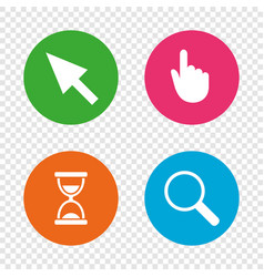 mouse cursor icon hourglass magnifier glass vector image