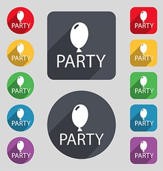 Party sign icon Birthday air balloon with rope or vector image