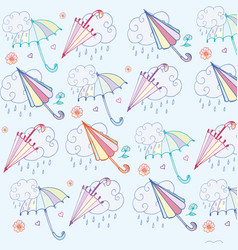 pattern umbrella and cloud with rain vector image vector image