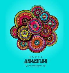 Poster for festival of happy krishna janmashtami vector