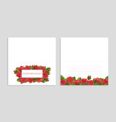 red rose greeting card with vector image vector image
