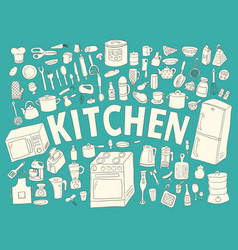 set hand drawn icons kitchen vector image vector image