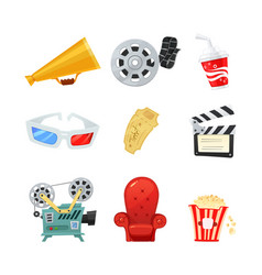 Set of colored isometric cartoon cinema icons vector