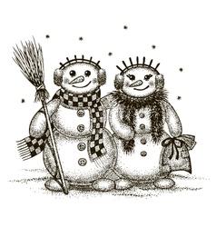 Snowmen boy and girl vector image vector image