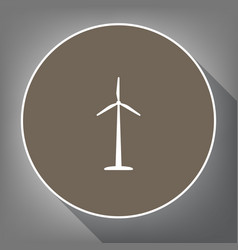 wind turbine logo or sign white icon on vector image vector image