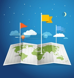 World map with different marks vector image vector image