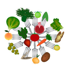 world vegan day fruits and vegetables on forks vector image