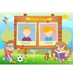 Yearbook for kindergarten with kids and two vector