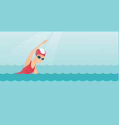 Young caucasian sportswoman swimming vector
