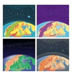 Collection of cosmic background with earth vector