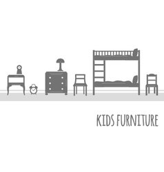 Furniture flat icon set vector image