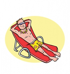Man tanning beach vector
