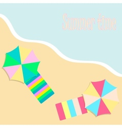 Summer background with beach umbrellas vector