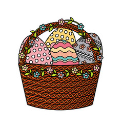 Happy easter basket with eggs painted vector