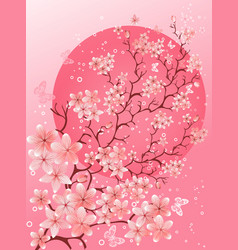 Beautiful spring cherry blossom background vector