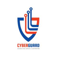 Cyber guard logo template concept vector