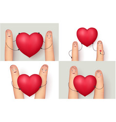 Fingers and red heart collection vector