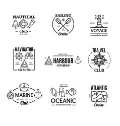 Nautical emblem badges or labels line art set vector