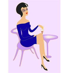 woman with a glass of wine vector image