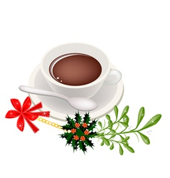 A cup of hot coffee with mistletoe bunch vector