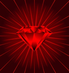 Red ruby diamond beams vector