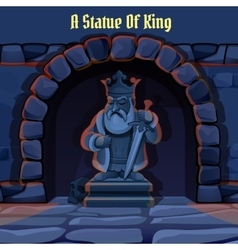 Ancient stone statue of king in the dungeon vector