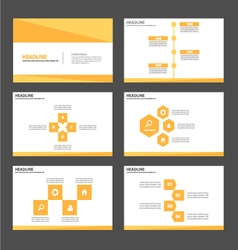 Yellow gold presentation templates infographic set vector