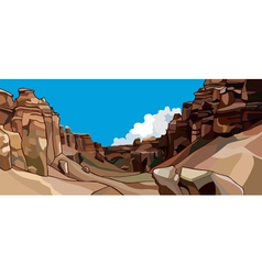 Cartoon semicircle of red rocks vector