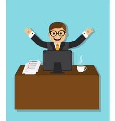 Joyful businessman sitting behind a desk vector