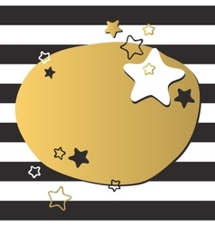 Colorful gold star and black circles of light vector